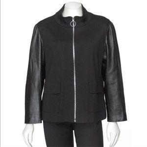 St. John Black Milano Knit Leather Zip Up Jacket